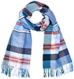 GANT D2. Check Wool Scarf Bufanda, Azul (Vintage Blue 442), Talla única para Mujer