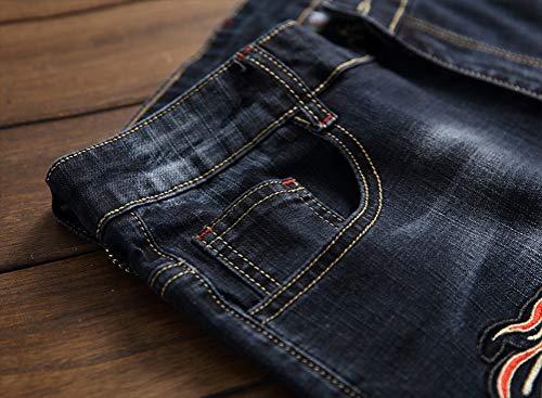 IDEALSANXUN Jean Shorts for Men Pattern Ripped Denim Shorts (32, Black Dragon)