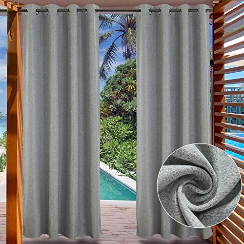 LIFONDER Grey Blackout Outdoor Curtains - Indoor/Outdoor Curtains for Patio Privacy Windproof Gazebo Blinds Pergola Drapes/Porch Shades with Grommet Top, 52' Wide by 108' Long, 1 Panel