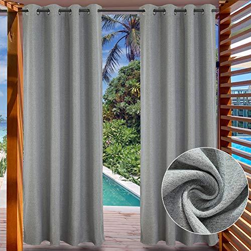 LIFONDER Verdunkelungsvorhänge für Terrasse und Außenbereich, solide Vorhänge für Terrasse, Pavillon, Pergola, Cabana mit Ösen, 1 Panel Modern 52