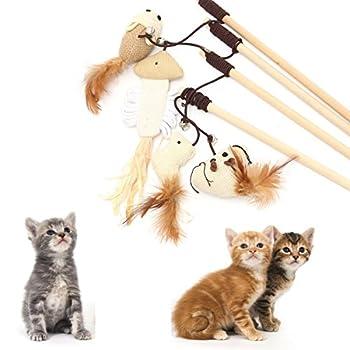 Kungfu Mall Animal chat chaton jouets teaser de baguette souris balle jeu de plumes jouet