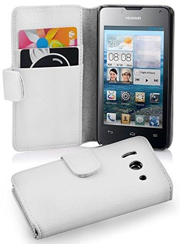 Cadorabo Hülle für Huawei Ascend Y300 in Magnesium WEIß – Handyhülle aus Strukturiertem Kunstleder mit Standfunktion & Kartenfach – Hülle Cover Schutzhülle Etui Tasche Book Klapp Style