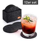Glowbal Filz Untersetzer rund für Gläser 12er Set, Design Glasuntersetzer in dunkelgrau für Getränke, Bar, Tassen, Glas - Tischuntersetzer Filzuntersetzer