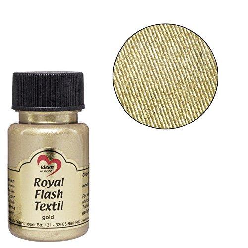 Royal Flash Textil, Glitzer-Metallic-Farbe | hochdeckend, cremige Textilfarbe auf Wasserbasis | für helle und dunkle Textilien | 50 ml (gold)
