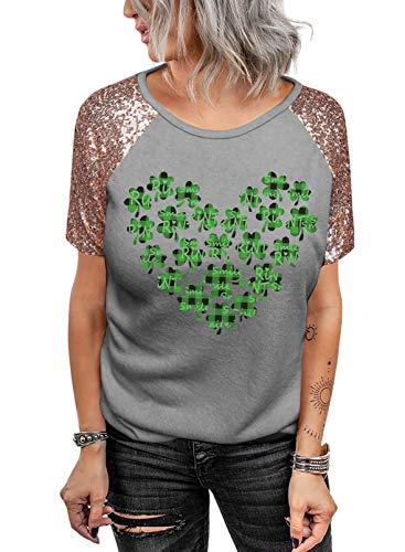 Camiseta de manga corta para mujer, diseño de trébol, estilo informal, con estampado de trébol, para mujer
