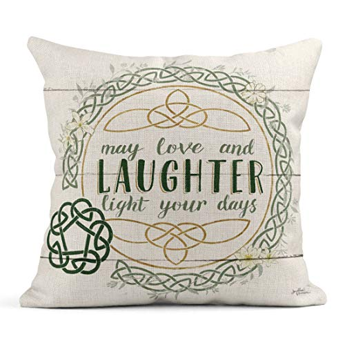 Tarolo Linen Throw Pillow Cover Case Irish Blessings Inspirational Decorative Pillow Cases Covers Home Decor Square 20 x 20 Inches Pillowcases