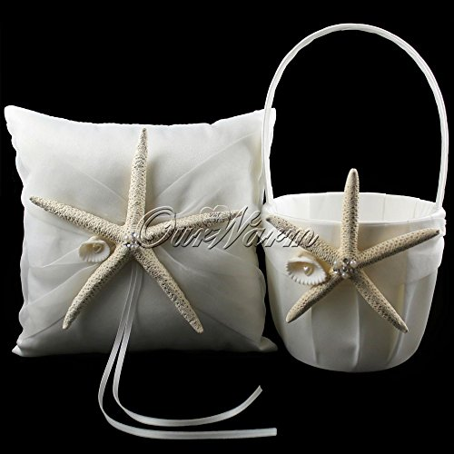 2pcs/set New Fashion Satin Wedding Ceremony Starfish Ring Pillow + Flower Basket Set Bridal Decoration Product Supplies