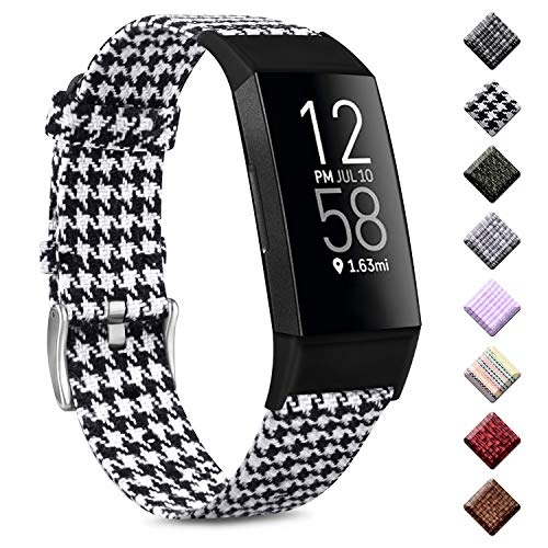 """Wanme Kompatibel mit Fitbit Charge 3 Armband/Fitbit Charge 4 Armband, Woven Ersetzerband Verstellbares Zubehör Uhrenarmband Kompatibel mit Fitbit Charge 3/Fitbit Charge 4 (Grid, 5.5\""""-8.1\"""")"""