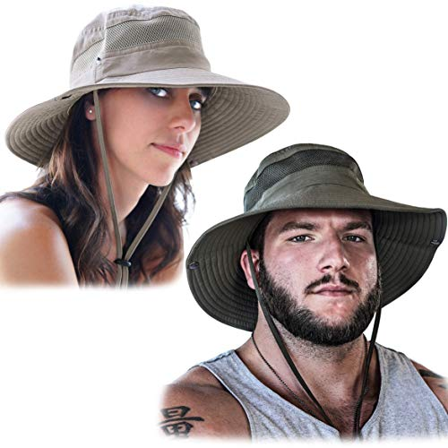 GearTOP Fishing Hat and Safari Cap with Sun Protection | Premium Hats for Men and Women (Army Green + Khaki 2 Pack)…