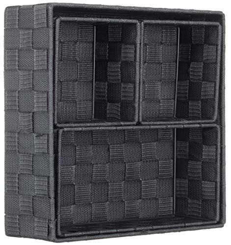 Brandsseller Aufbewahrungsbox Dekobox - Rattan/Flecht Optik - 4er Set - Anthrazit