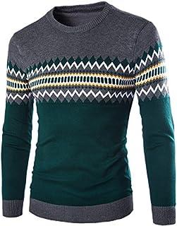 ニット セーター メンズ 長袖 トップス カットソー カラーマッチング 2色 おしゃれ カジュアルセーター 模様入り ボーダー 暖かい 秋冬春 大きいサイズ 001