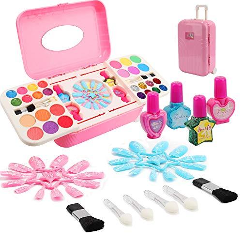 Ulikey Set de Maquillaje Niñas, Juguetes de Maquillaje, Cosméticos Lavables, Maletin Maquillaje Infantil, Caja de Maquillaje, Regalo de Princesa Cumpleaños y Navidad para Niños (B)