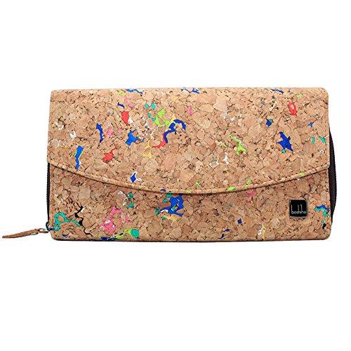 Boshiho Damen Geldbörse aus Korkleder, Ökologisch & Vegan, Frauen Portemonnaie Kork, Geschenkverpackung Geschenk (Kork 01)