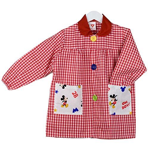 KLOTTZ - Babi guardería con Bolsillos de Tela Mickey. Bata Colegio de Manga Larga Niñas Color: Rojo Talla: 3