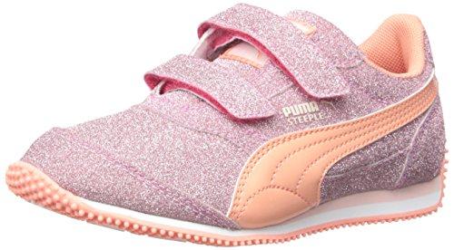 PUMA Steeple Glitz Aog V Kids Sparkle Sneaker (Toddler/Little Kid) , Rose Red/Desert Flow, 2 M US Little Kid