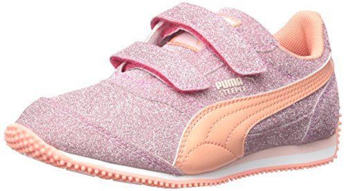 PUMA Steeple Glitz Aog V Kids Sparkle Sneaker (Toddler/Little Kid) , Rose Red/Desert Flow, 2 M US Little Kid