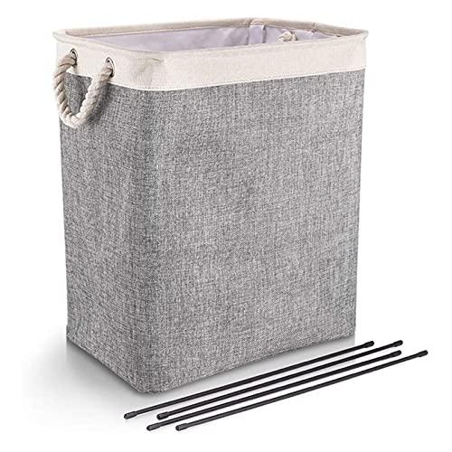 WYDMBH Cestos para la Colada Cestas de lavandería con manijas de Lino Plegable deprimidoras con Soportes Desmontables Bien sosteniendo la Ropa de lavandería Plegable (Color : Gray)