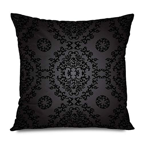 Throw Pillow Cover Decorative Square 16x16 Brown Baroque Royal Damask Abstract Retro Renaissance Antique Classic Curl Curtains Curves Drapery Zippered Pillowcase Home Decor Cushion Case 18' X 18'(IN)