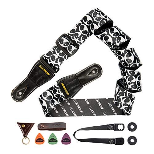 """M33 Panda Guitar Strap Leather Ends Shoulder Strap Set for Acoustic, Electric and Bass Guitars - 2"""" Wide Includes Strap Button + Locks +Picks Christmas Gift for Men Women Guitarist"""