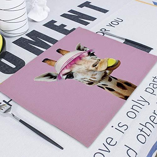Manteles Individuales,6 uds, servilletas de mesa con posavasos de animales de dibujos animados, mantel individual para mesa de comedor, posavasos, posavasos para mesa, mantel individual-CD3-10_Los 42