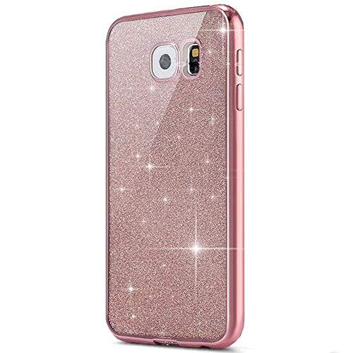 kompatibel mit Galaxy S6 Edge Hülle,Galaxy S6 Edge Silikon Hülle Glitzer,Galaxy S6 Edge TPU Silikon Bumper Handyhülle Schutzhülle,Ultradünn TPU Silikon Hülle Schutz Handy Hülle Case,Rosa