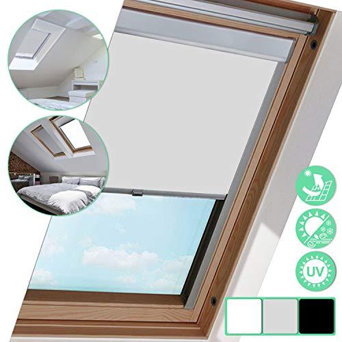 Dachfenster-Rollo F06 für Skylight, Classic Grau Thermo-Rollo, Verdunkelungs Rollo, Blickdicht Stoff, 49.3 * 94cm