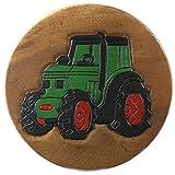 ART-CRAFT KH103 Kinderhocker Holz Schemel mit Motiv Traktor bemalt und beschnitzt Höhe 27 cm