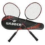 LINGSFIRE Set per Badminton, Set di 2 Racchette per Badminton, con Borsa per Racchette, Fibra di Carbonio Racchetta da Badminton Unisex, Giocatori Professionisti e Principianti (Rosso)