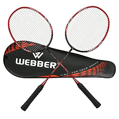 LINGSFIRE Badminton Set, 2er-Pack Kohlefaser Profi Badmintonschläger Leichtgewicht Badminton Schläger Federballschläger Set mit Schlägertasche für Training, Sport und Unterhaltung (Rot)
