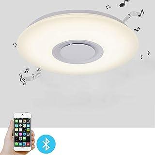Berkalash - Lámpara de techo (intensidad regulable, altavoz bluetooth, lámpara de techo LED de 24 W con mando a distancia, control de aplicación, 40 cm de diámetro, intensidad regulable)