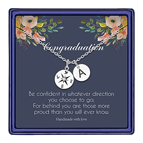 IEFWELL Class of 2021 Gifts for Women, Compass Necklace Senior 2021 Gifts Graduation Gifts Initial Necklaces Junior College Graduation Gifts for Her 2021 Graduation Necklaces for Women A