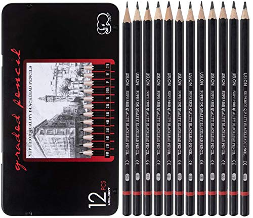 Professional Drawing Sketching Pencil Set - 12 Pieces Art Drawing Graphite Pencils(8B - 2H), Ideal for Drawing Art, Ideal for Drawing Art, Sketching, Shading, for Beginners & Pro Artists