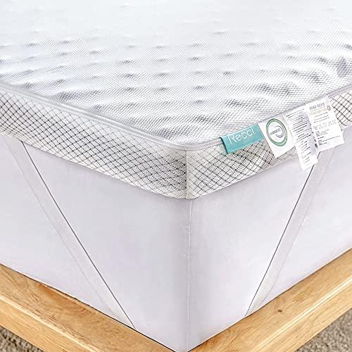 RECCI Cubrecolchón de espuma fría de 7 cm de altura, 180 x 200 cm, grado de dureza H2&H3, para colchones y camas con somier, para un apoyo firme y relajante [180 x 200 x 7 cm]