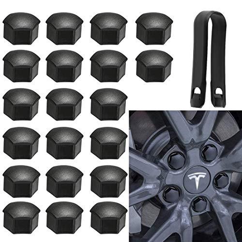 Gebildet 20Pcs Tapas de Tuerca de Rueda, Tapas de Tuerca de Perno de Rueda, Tapas para Tornillos de Rueda con herramienta para Te-sla Model 3 Model S Model X (Mate, Negro)