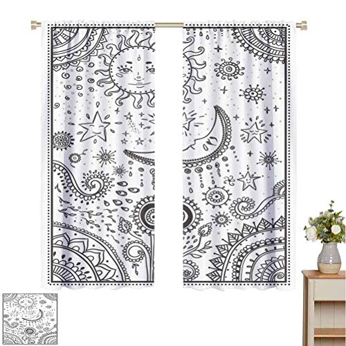 Lowest Prices! June Gissing Sun and Moon Curtains for Living Room Oriental Inspired Design Crescent ...