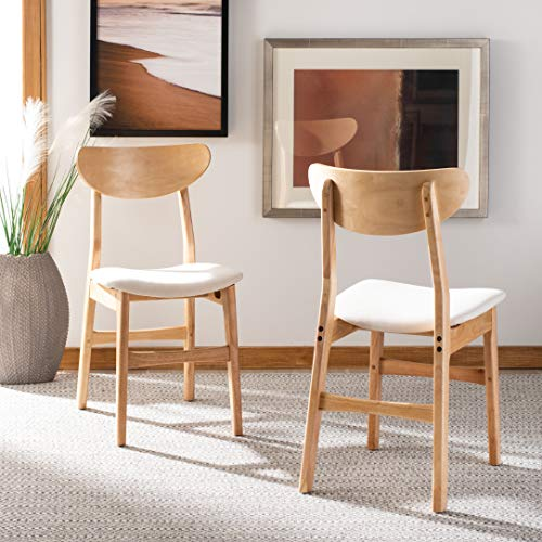 Safavieh Home Lucca Retro Natural and White Cushion Dining Chair, Set of two