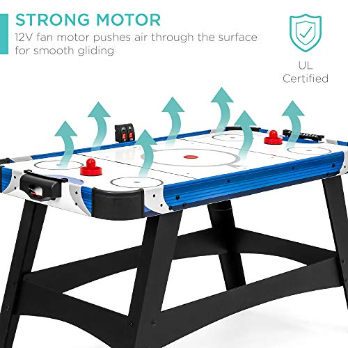 Best Choice Products 54in Large Air Hockey Table for Game Room, Office w/ 2 Pucks, 2 Pushers, LED Score Board