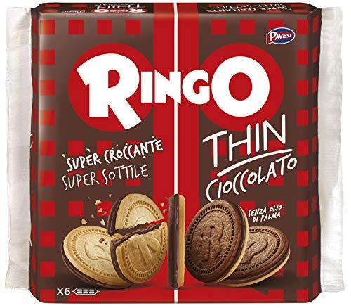Pavesi Biscotti Ringo Thin Cioccolato, Snack per Merenda o Pausa Studio, Senza Olio di Palma - Confezione da 6 X 39g