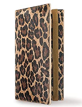 Zreal Checkbook Cover for Men & Women 2021 New Version  Premium Vegan Leather Checkbook Holder Slim Wallets for Top & Side Tear Duplicate Checks with RFID Blocking  Dark Leopard