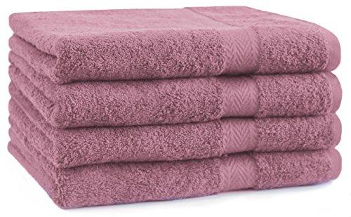 Betz 4 Stück Handtücher Premium 100% Baumwolle 4 Handtücher Farbe Altrosa