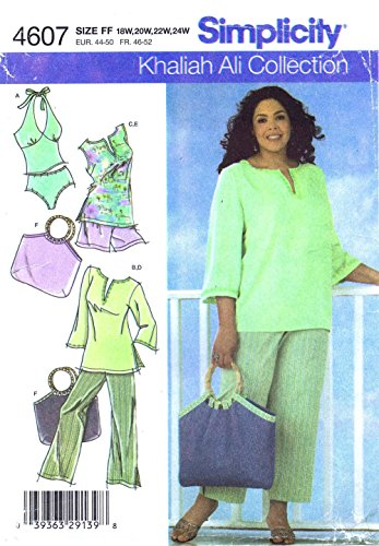 OOP Simplicity Sewing Pattern 4607. Womens Plus Szs 18W; 20W; 22W; 24W Tunic, Cropped Pants, Bag & 2-Piece Knit Swim Suit. Swimsuit. Swimming Suit