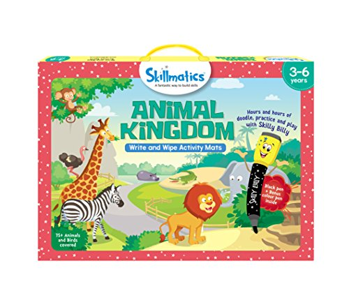 Skillmatics Educational Game: Animal Kingdom (3-6 Years) | Erasable and Reusable Activity Mats with 2 Dry Erase Markers | Learning Tools for Boys and Girls 3, 4, 5, 6 Years