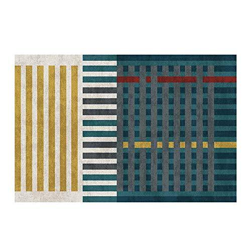 ZCXBB Modern grün Plaid/Marokkanische Serie Rechteckige rutschfeste Verschleißfest Teppich Wohnzimmer Schlafzimmer Startseite Bett Decke Couchtisch Decke Nordic Style Startseite Teppich/Cuvee