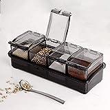 Hao-zhuokun 4pcs Set Transparent Seasoning Box Condiment Jars Spice Shaker,con Cubierta y Cuchara de Bandeja,Especias Shaker de Especias Miel café té Mostaza contenedor de Almacenamiento