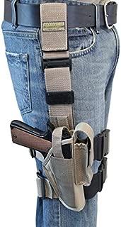 Barsony New Desert Sand Tactical Drop Leg Holster for Full Size 9mm 40 45