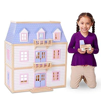 Melissa & Doug Modern Wooden Multi-Level Dollhouse with 19 pcs Furniture [White]
