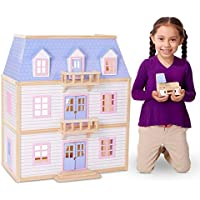 Melissa & Doug Modern Wooden Multi-Level Dollhouse with 19 Furniture Pieces (White)