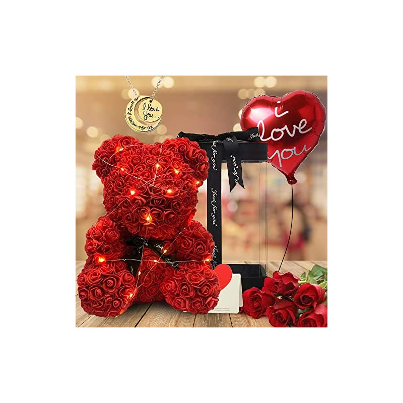 silk flower arrangements duosme rose teddy bear fully assembled rose bear - over 250 artificial flowers - 5 in 1 gift sets for valentines day,mothers day,anniversary&bridal showers - 16 inch clear gift box(red)