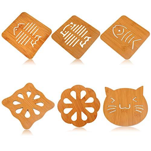Elinala Bambus Untersetzer, Untersetzer Topf, 6PCS Bambus Holz rutschfeste Isolierung Tischmatte für Töpfe, Pfannen, Teller, Geschirr, Teekannen, Etc