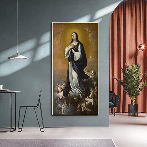 ganlanshu Pintura sin Marco Vintage Madonna Pintura al óleo Famosa Lienzo Pintura Carteles e Impresiones Decorar la decoración del hogar ZGQ5303 60X110cm